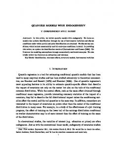 QUANTILE MODELS WITH ENDOGENEITY 1. Introduction ... - MIT