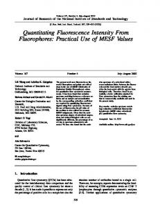 Quantitating Fluorescence Intensity From Fluorophores - NIST Page