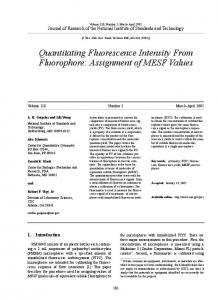Quantitating Fluorescence Intensity From Fluorophore - NIST Page