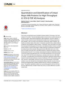 Quantitation and Identification of Intact Major Milk Proteins for High