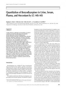 Quantitation of Benzodiazepines in Urine, Serum, Plasma, and ...