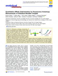 Quantitative Affinity Determination by Fluorescence ... - ACS Publications
