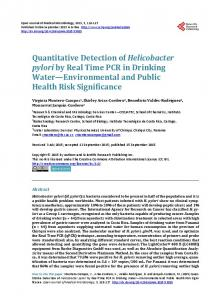 Quantitative Detection of Helicobacter pylori by Real Time PCR in ...