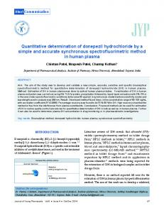 Quantitative determination of donepezil hydrochloride by a simple and