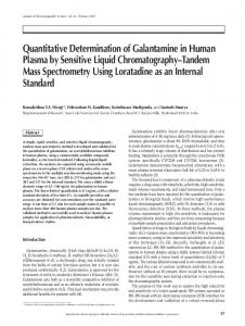 Quantitative Determination of Galantamine in Human Plasma by ...