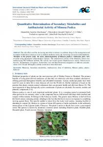 Quantitative Determination of Secondary Metabolites ...