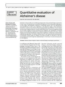 Quantitative evaluation of Alzheimers disease