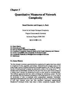 Quantitative Measures of Network Complexity