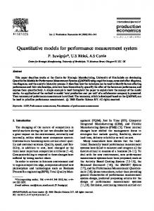 Quantitative models for performance measurement ... - Semantic Scholar