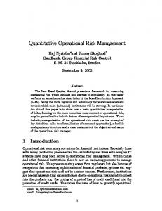 Quantitative Operational Risk Management