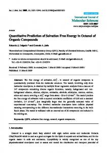 Quantitative Prediction of Solvation Free Energy in ... - BioMedSearch