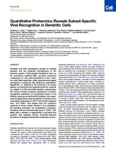 Quantitative Proteomics Reveals Subset-Specific Viral ... - Cell Press