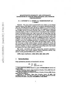 QUANTITATIVE STABILITY AND OPTIMALITY CONDITIONS IN ...