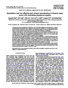 Quantitative trait loci affecting seed mineral ... - Oxford Journals