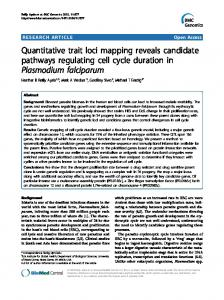 Quantitative trait loci mapping reveals candidate ... - BioMedSearch