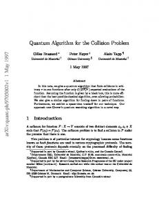 Quantum Algorithm for the Collision Problem