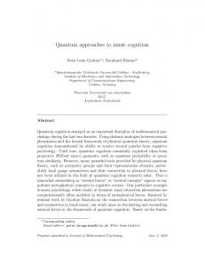 Quantum approaches to music cognition