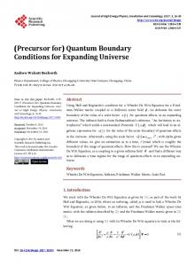Quantum Boundary Conditions for Expanding Universe - Scientific ...