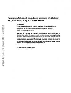 Quantum Chernoff bound as a measure of efficiency of quantum