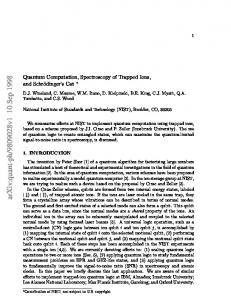 Quantum Computation, Spectroscopy of Trapped Ions, and ...
