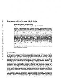 Quantum criticality and black holes