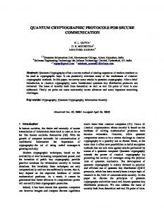 quantum cryptographic protocols for secure communication - dcc.ufla