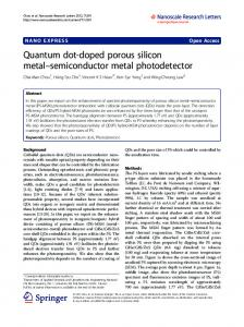 Quantum dot-doped porous silicon metal ... - BioMedSearch
