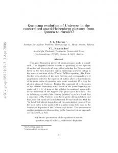 Quantum evolution of Universe in the constrained quasi-Heisenberg