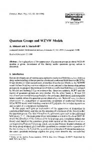 Quantum Groups and WZNW Models - Project Euclid