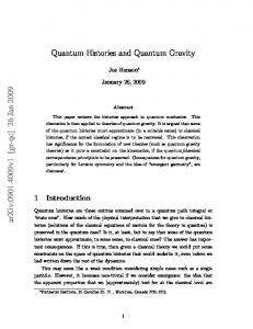 Quantum Histories and Quantum Gravity