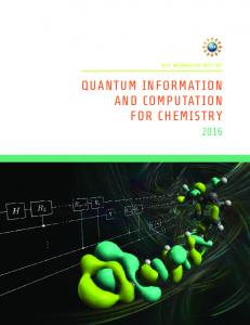 quantum information and computation for chemistry - arXiv