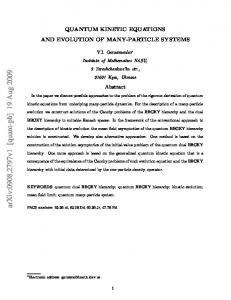 Quantum Kinetic Equations and Evolution of Many-Particle Systems