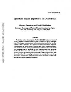 Quantum Liquid Signatures in Dwarf Stars