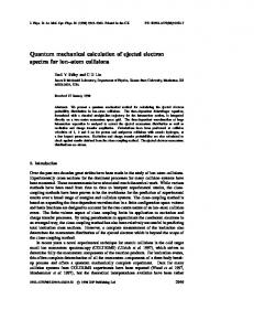 Quantum mechanical calculation of ejected electron ... - KSU Physics