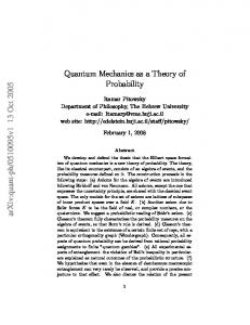 Quantum mechanics as a theory of probability