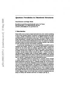 Quantum Percolation in Disordered Structures