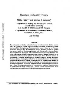 Quantum Probability Theory