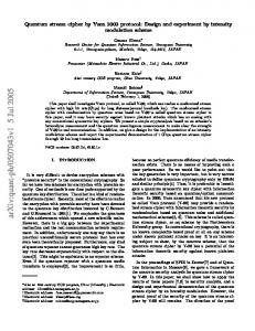 Quantum stream cipher by Yuen 2000 protocol: Design and ...