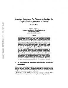 Quantum Structures: An Attempt to Explain the Origin of their ...