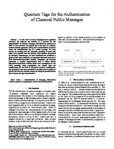 Quantum Tags for the Authentication of Classical Public Messages