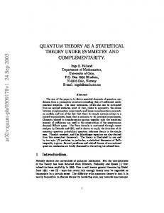 QUANTUM THEORY AS A STATISTICAL THEORY UNDER ...