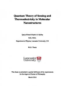 Quantum Theory of Sensing and Thermoelectricity in Molecular ... - Core