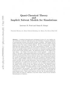 Quasi-Chemical Theory and Implicit Solvent Models for Simulations