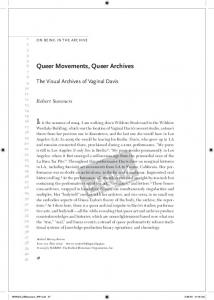 Queer Movements, Queer Archives