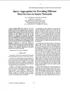 Query aggregation for providing efficient data services in ... - CiteSeerX