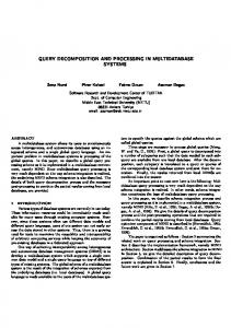 query decomposition and processing in multidatabase systems