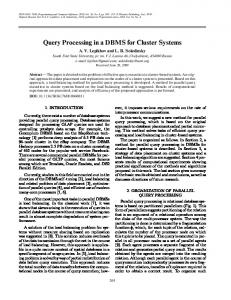 Query Processing in a DBMS for Cluster Systems - Springer Link
