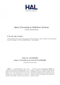 Query Processing in Multistore Systems