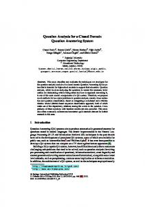 Question Analysis for a Closed Domain Question ... - CmpE WEB