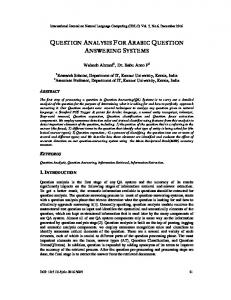 question analysis for arabic question answering systems